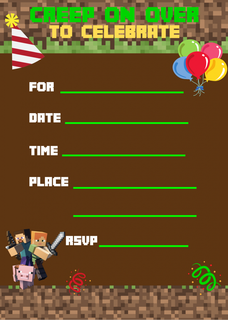 Minecraft Printable Invitation
